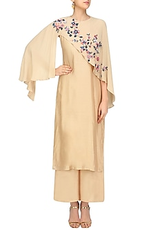 Beige Cape Kurta Set by 5X by Ajit Kumar