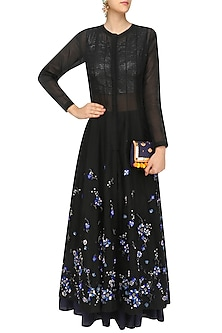 Black Panelled Anarkali Set by 5X by Ajit Kumar