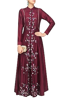 Maroon Organza Elongated Top Set by 5X by Ajit Kumar