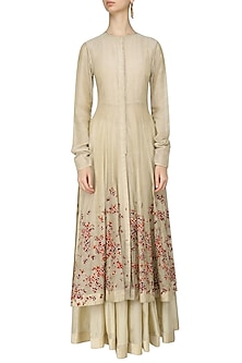 Beige Scattered Floral Embroidered Anarkali, Crop Top and Skirt Set by 5X by Ajit Kumar