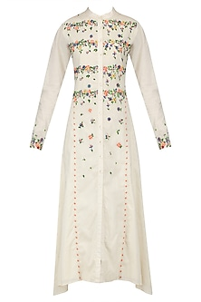 Off White Scattered Floral Embroidered Shirt Dress by 5X by Ajit Kumar