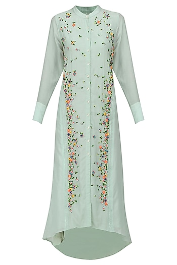 Light Blue Scattered Floral Embroidered Shirt Dress by 5X by Ajit Kumar