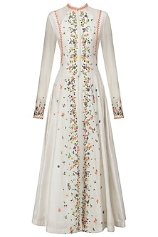 White Scattered Floral Embroidered Anarkali and Skirt Set by 5X by Ajit Kumar