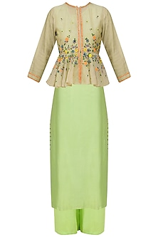 Green Floral Embroidered Peplum Jacket, Tunic and Pants Set by 5X by Ajit Kumar