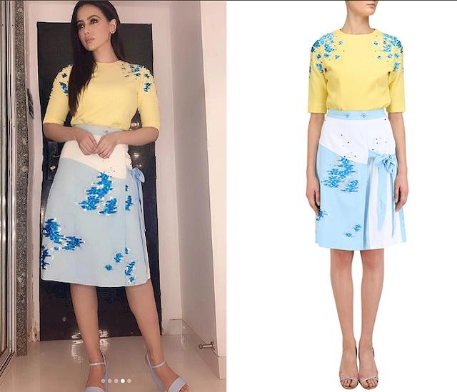 Blue Wrap Around Embroidered Skirt by Sakshi K Relan