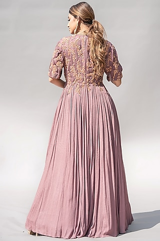 Mauve Ruched & Embellished Dress by Abstract By Megha Jain Madaan
