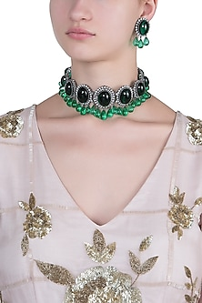 Silver plated green emerald choker necklace set by 7th AVENUE