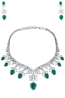 Silver plated green emerald swarovski necklace set by 7TH AVENUE