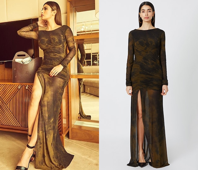 Olive Green & Black Tie-Dye Gown by Deme by Gabriella