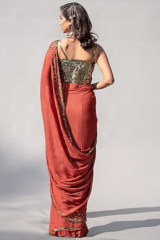 Red Embellished Saree Set by Abstract By Megha Jain Madaan