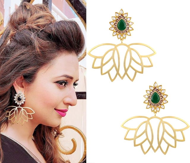 Gold Finish Lotus Drop Earrings by Nepra By Neha Goel