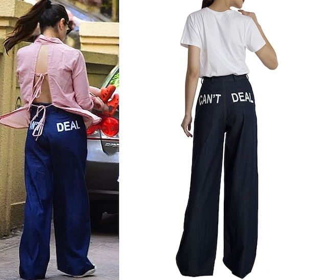 "Denim ""CAN'T DEAL"" Statement Print Pants by Masaba"