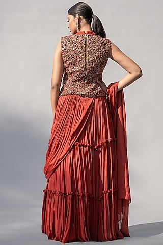 Red Embellished Jacket Saree Set by Abstract By Megha Jain Madaan
