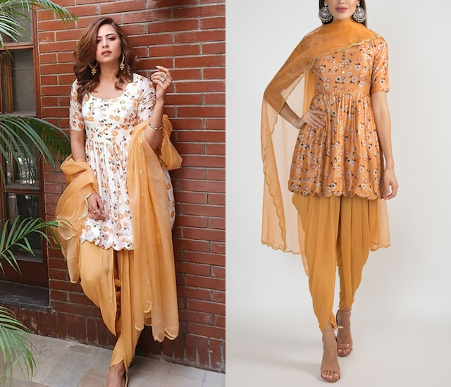 Peach Printed & Embroidered Kurta Set by Ease