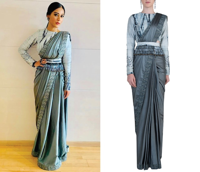 Grey Pre-Stitched Embroidered Saree Set by ETIKA SANCHETI