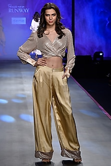 Beige Wrap Around Sequins Top With Pants by Deme by Gabriella