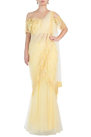 Yellow Embroidered Ruffle Gown Saree by Sonaakshi Raaj