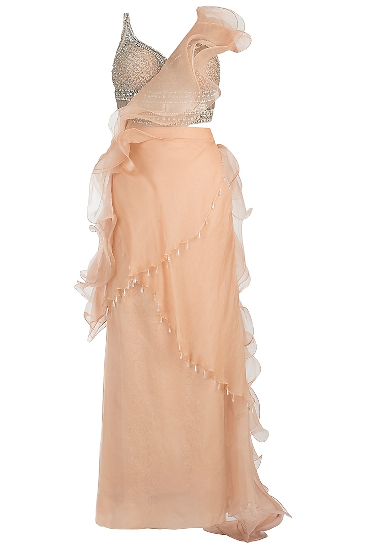 Nude Embroidered Ruffle Skirt Saree with Blouse by Sonaakshi Raaj