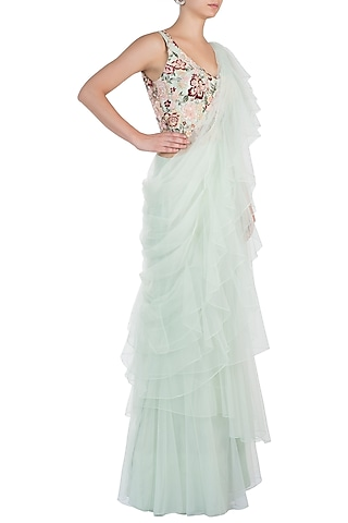 Pista Green Ruffle Embroidered Gown Saree by Sonaakshi Raaj