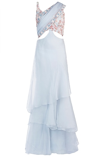 Powder Blue Ruffle Embroidered Gown Saree by Sonaakshi Raaj