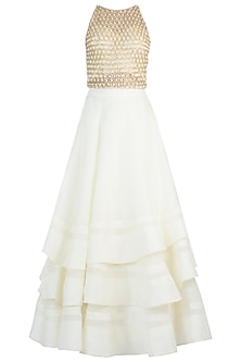 Ivory Ruffle Embroidered Lehenga Set by Sonaakshi Raaj