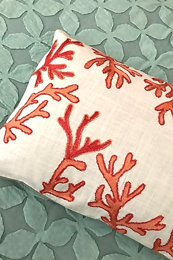 White & Coral Embroidered Cushion Cover by Karmadori
