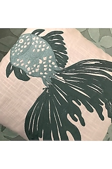 English Green Embroidered Cushion Cover by Karmadori