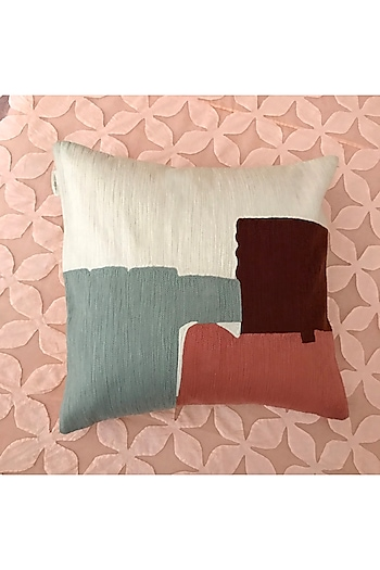 Multicolor Hand Embroidered Cushion Cover by Karmadori