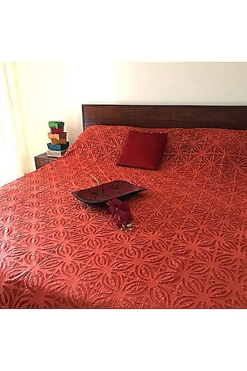 Terracotta Applique Bedcover by Karmadori