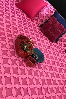 Fuchsia Pink Applique Bedcover by Karmadori