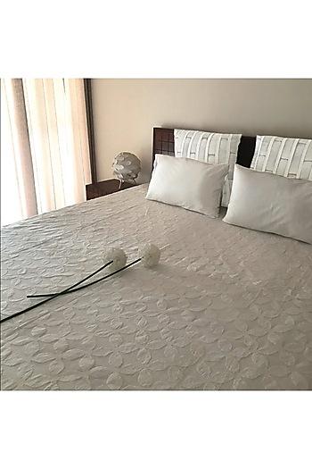 Sienna Splendour White Applique Bedcover by Karmadori