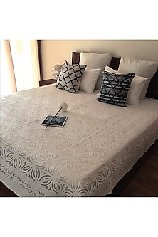 Shannon Splendour White Applique Bedcover by Karmadori
