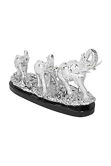 Silver Plated Elephant Family Figurine (L) by Shaze