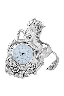 Silver Plated Stallion Clock (M) by Shaze