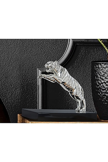 Silver Plated Leaping Tiger Figurine (L) by Shaze