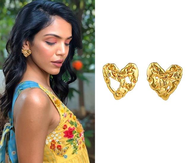 Gold Finish Crudo Heart Eartops by Flowerchild By Shaheen Abbas