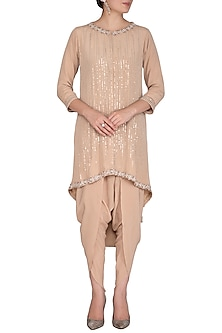 Beige Embroidered Jacket With Dhoti Pants by Aashna Behl