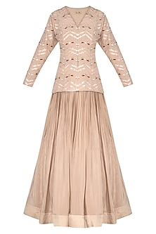 Beige Embroidered Jacket With Skirt by Aashna Behl