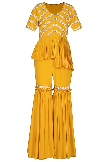 Marigold Yellow Jacket With Gharara Pants by Aashna Behl