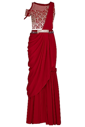 Scarlet Red Embroidered Pant Saree Set by Aashna Behl
