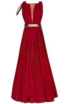 Scarlet Red Embroidered Gown With Belt by Aashna Behl