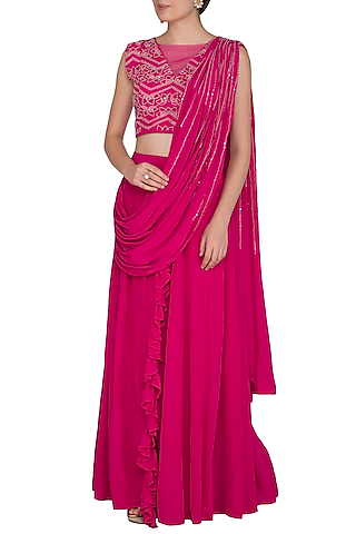 Fuchsia Pink Embroidered Pre-Draped Saree Set by Aashna Behl