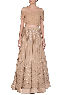 Beige Off Shoulder Blouse With Embroidered Skirt by Aashna Behl