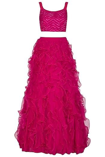 Fuchsia Pink Embroidered Lehenga Set by Aashna Behl