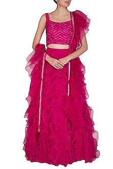 Fuchsia Pink Embroidered Lehenga Set by Aashna Behl