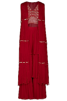Scarlet Red Embroidered Blouse With Pants & Cape by Aashna Behl