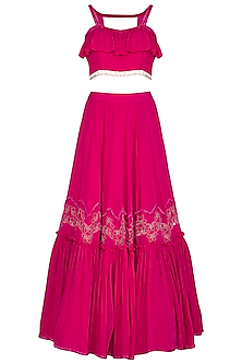 Fuchsia Pink Embroidered Ruffled Lehenga Set by Aashna Behl