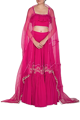 Fuchsia Pink Embroidered Ruffled Lehenga Set by Aashna Behl