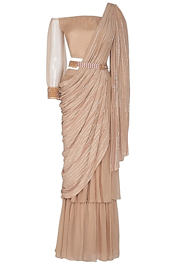 Beige Embroidered Pant Saree Set With Belt by Aashna Behl