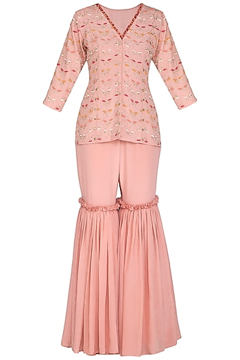 Dusty Rose Pink Embroidered Peplum Top With Gharara Pants by Aashna Behl